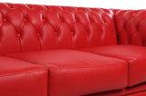 Chesterfield Canapé Original Cuir | 1 + 2 + 3 places | Rouge | Garantie de 12 ans_