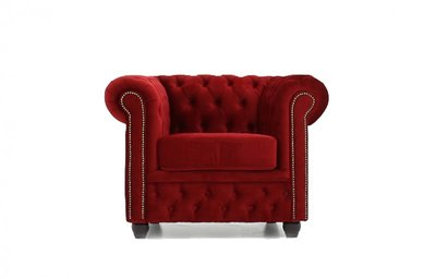 Chesterfield Fauteuil en tissu Velours Rouge | Garantie de 12 ans